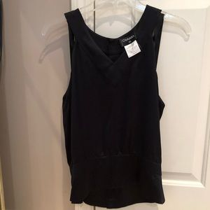 100% silk Chanel strappy cold shoulder blouse